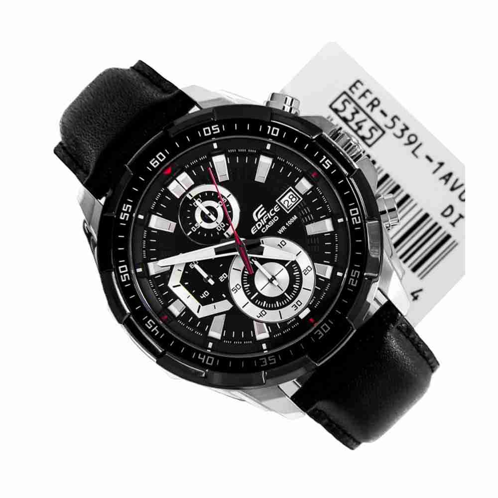Wrist 539l 1av Leather Edifice Efr Casio Black Watch iOPkZuXT