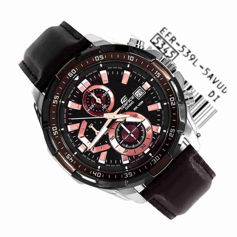 6d1d8266c Casio Edifice EFR-539L-5AV Brown Leather Watch - WatchCentre.PK