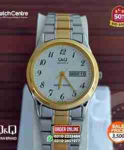 q&q by citzen japan BB16-404 model golden silver stainless steel & numeric white dial men's gif watch