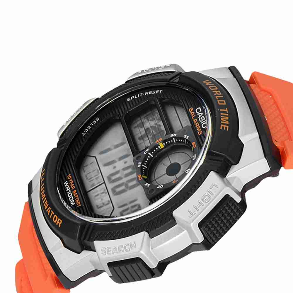 Casio Ae 1000w 4bv Orange Color Stylish Wrist Watch World Time 1000wd Original The Product Is Already In Wishlist Browse