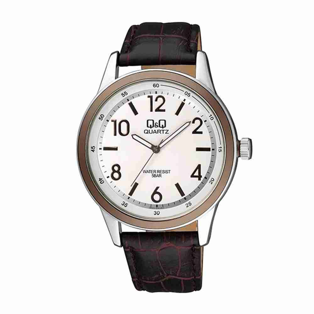 Q q q922j314 brown leather analog wrist watch watchcentre pk for Q q watches