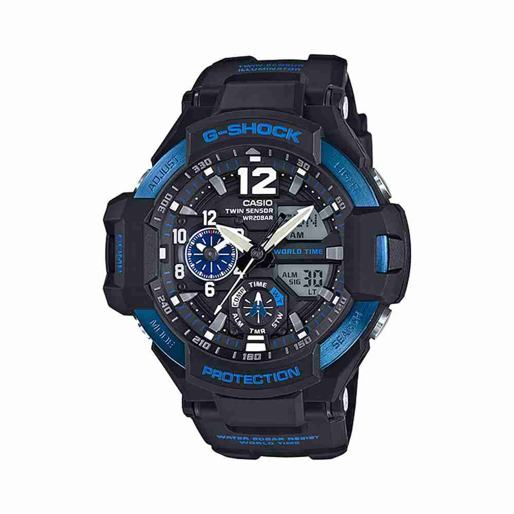 Shop for casio g shock ga 1100 2bdr black strap stylish wrist watch watchcentre pk for Watches g shock