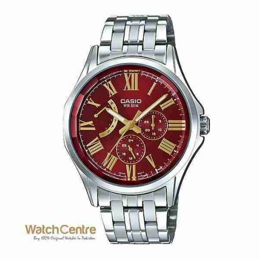 Casio MTP-E311DY-4AV Classic Stainless Steel Chronograph Red Dial Men's Watch Pakistan