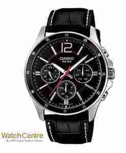 Casio MTP-1374L-1AV Black Leather Chronograph Men's Wrist Watch Pakistan