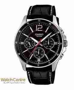 Casio MTP-1374L-1AV Black Leather Chronograph Men's Wrist Watch Pakistan