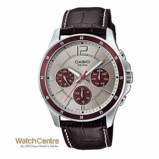 Casio MTP-1374L-7A1V Brown Leather Chronograph Men's Watch Pakistan