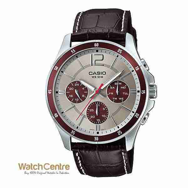 Casio MTP-1374L-7A1V Brown Leather Chronograph Men's Watch Pakistan