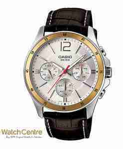 Casio MTP-1374L-7AV Genuine Leather Chronograph Men's Wrist Watch Pakistan