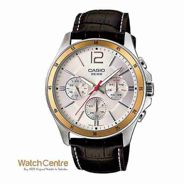 Casio MTP-1374L-7AV Genuine Leather Chronograph Men's Wrist Watch Pakistan