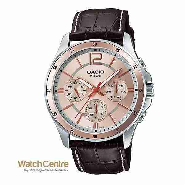 Casio MTP-1374L-9AV Pink Dial Choronograph Leather Men's Wrist Watch Pakistan