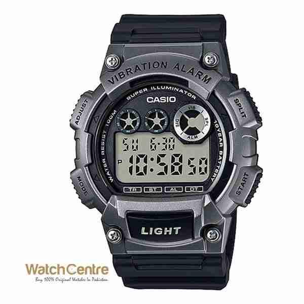 casio w 735h 1a3vdf black silver sports digital wrist
