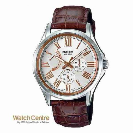 Casio Enticer MTP-E311LY-7AV Brown Leather Classical Chrnograph Men's Wrist Watch Pakistan