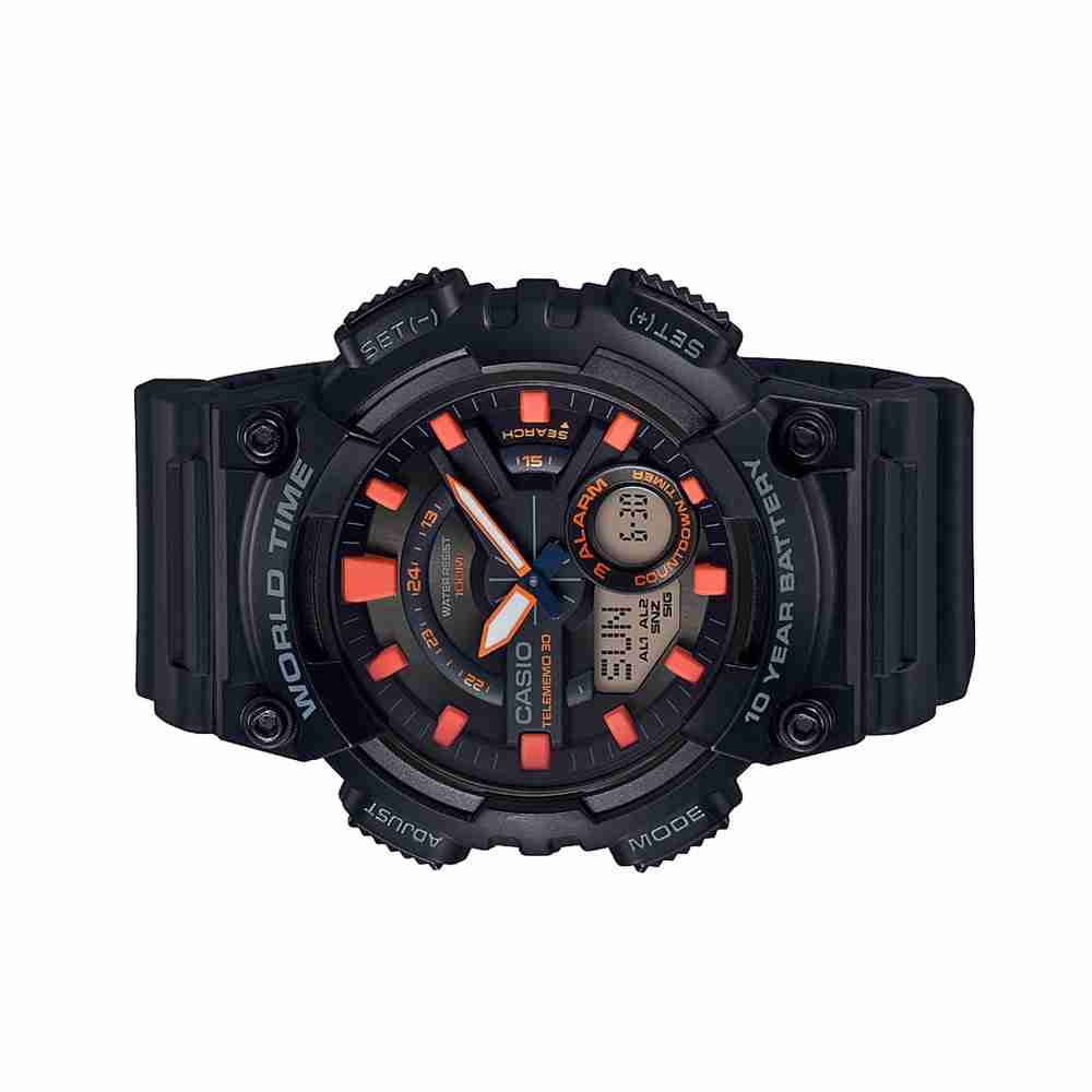 ec6756dd13f5 Casio Aeq 110w 1a2vdf Black Orange Dial Stylish Wrist Watch Casiooriginal  Watches In Pakistan Rolex