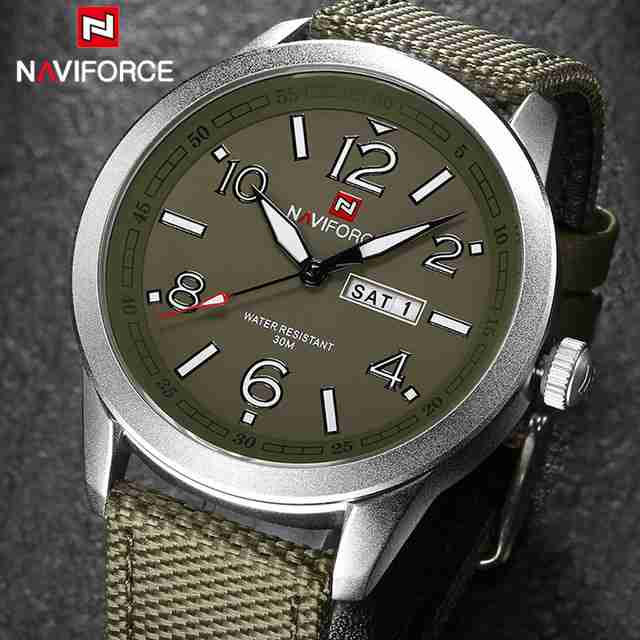 navi force green nylon strap watch