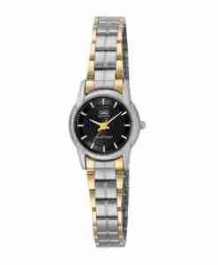 Q&Q Q649-402Y Ladies Gift Watch Two Tone Black Dial