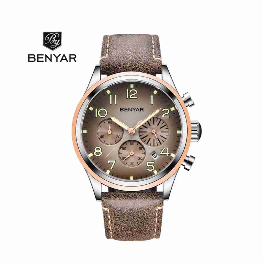 Benyar Executive Chronograph Brown Leather Wrist Watch