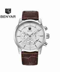 benyar-by5104-brown-leather-chrono-silver