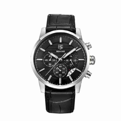 benyar-by5104-full-black-leather-chronograph