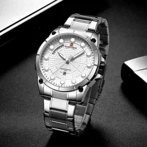 NaviForce 9152M White Stainless Steel Men's New Design Analog Watch