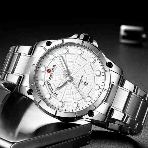 NaviForce 9152M White Stainless Steel Men's New Design Analog Watch with Date