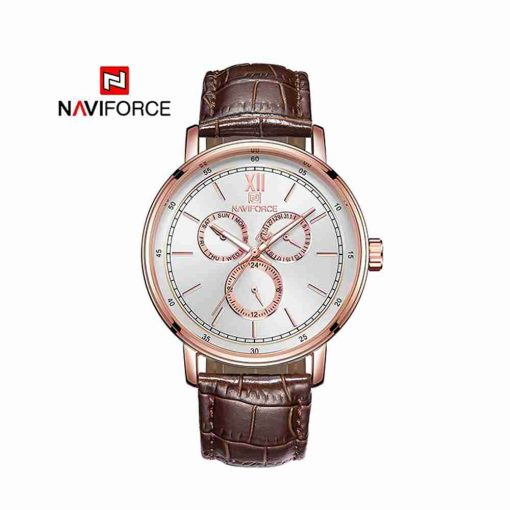 nf-3002-brown-leather-golden-chronograph-wc