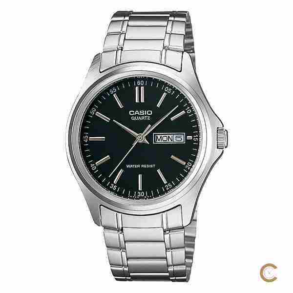 Casio MTP-1239D-1A Black & Silver Analog Men's Gift Watch - WatchCentre.PK