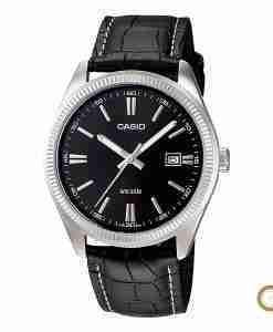 Casio MTP-1302L-1AV men's black leather wrist watch