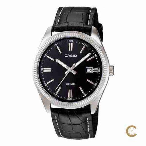 Casio MTP-1302L-1AV men's black leather wrist watch