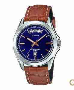 Casio MTP-1370L-2AV brown leather & blue dial men's gift watch in Pakistan