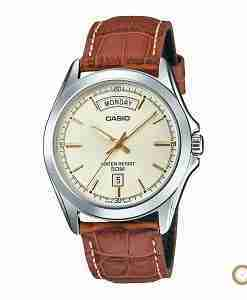 Casio MTP-1370L-9AV brown leather & golden dial men's gift watch in Pakistan