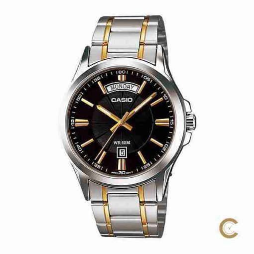 Casio MTP-1381G-1AV Men's Gift Watch with Black Dial & Two Tone Stainless Steel Strap