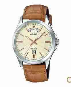 Casio MTP-1381L-9AV men's classic golden dial & brown leather gift watch in Pakistan