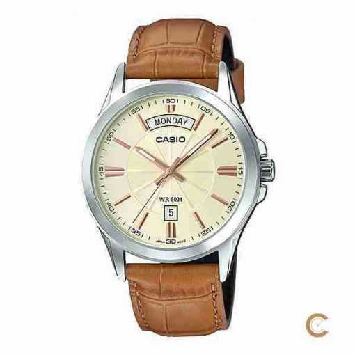 Casio MTP-1381L-9AV men's classic golden dial & brown leather gift watch in Pakistan