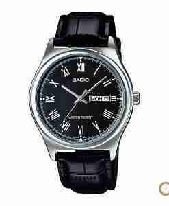 Casio MTP-V006L-1B black dial & leather men's roman wrist watch in Pakistan