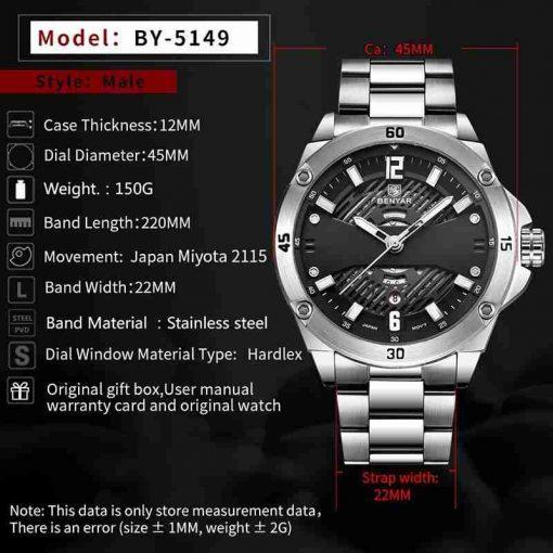 benyar-by-5149m-silver-black-unique-design