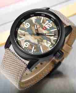 NF9080 Khaki Military Style Camoflage Watch