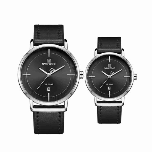 naviforce-nf-3009-black-leather-couple-watch