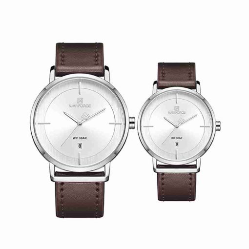 naviforce-nf-3009-brown-leather-couple-watch