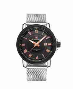 NaviForce NF9052 Mesh Strap Black Dial Men's Analog Watch with Date