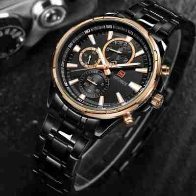 naviforce nf-9089-black-golden-chronograph