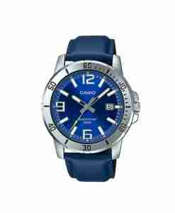 Casio MTP-VD01L-2BVUDF New 2020 Model Blue Leather Strap & Blue Dial Men's Analog
