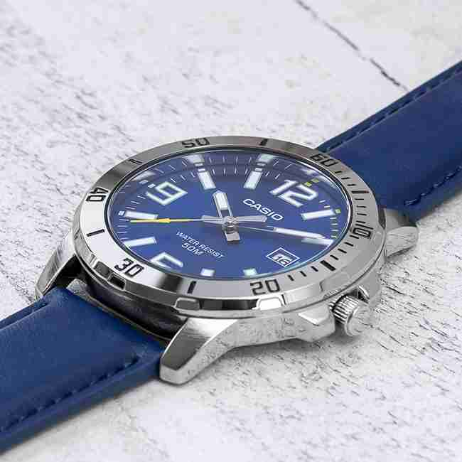 Casio MTP-VD01L-2BVUDF Blue Leather Strap & Blue Dial Men's Analog Wrist Watch with Radium