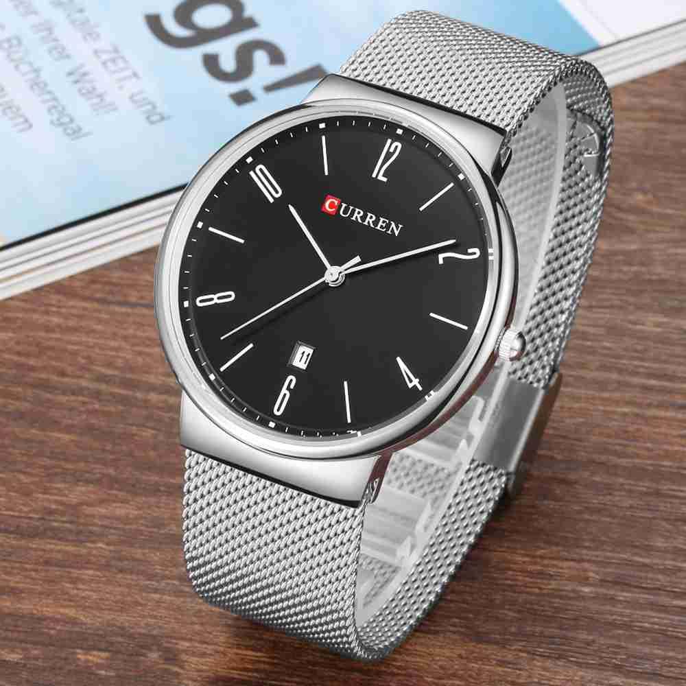 Curren 8257 silver mesh chain & black slim dial unisex wrist watch