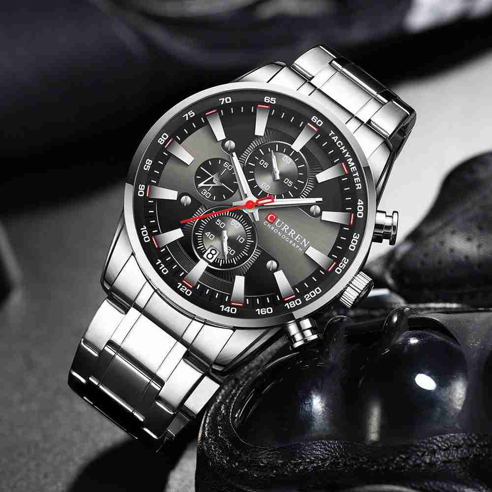 Curren 8351 Classic Business Style Silver Black Chronograph Watch