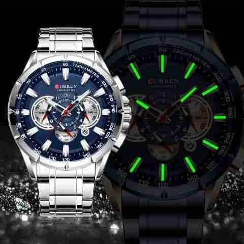 Curren 8363 Blue Dial Chronograph Mens Executive Watch