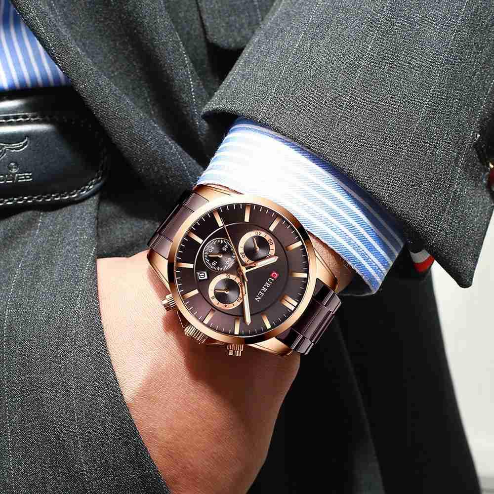 Curren 8358 coffee multi-hand dial mens steel wrist watch
