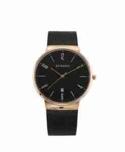 Curren 8257 black mesh chain & black dial unisex analog wrist watch