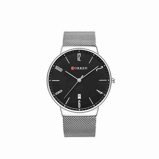 Curren 8257 simple analog black slim dial watch with mesh silver chain