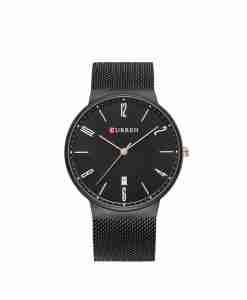 Curren 8257 black mesh chain & black dial unisex wrist watch