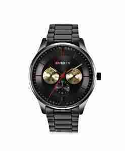 Curren full black budget economy steel multi-hand watch